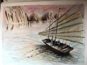 Pintor en el acantilado